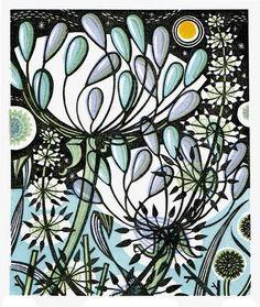'Moonlit Garden' by Angie Lewin (wood engraving) Woodcut Art, Linocut Prints, Art Prints, Block Prints, Framed Prints, Angie Lewin, Engraving Art, Engraving Ideas, Limited Edition Prints