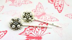 Set of Two Bridal Hairclips By Twinkle Jewellery - Vintage Style, Hollywood Regency, Wedding Hair, Diamante, Pearl by twinklejewellery on Etsy