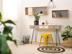 Mocka Vibe Desk with Vibe Boxes, Circa Rug and Vintage Stool Furniture, Home Office Desks, Kids Bedroom Furniture, Storage Furniture Design, Kids Furniture, Simple White Desk, Modern Home Office Desk, Home And Living, Desk