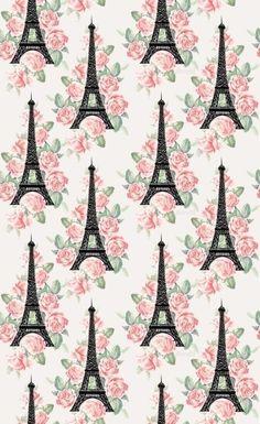 Eiffel Tower roses pink Paris wallpaper