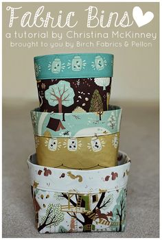 Fabric Bins -have some toile fabric I'd love to do this with!