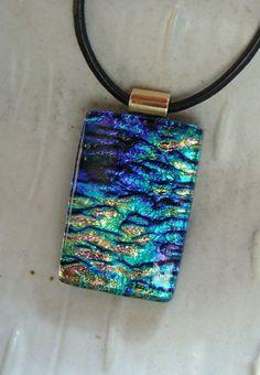Dichroic Pendant, Glass Jewelry, Necklace, Cobalt Blue