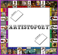 Artopoly already existed as a game that plays like Monopoly, but this is more for art history and visual recognition. Like the concept. Middle School Art, Art School, Arte Elemental, Art Room Posters, Art History Lessons, History Memes, Art Rubric, Art Criticism, Art Worksheets