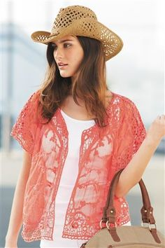 Coral Crochet Cover-Up - love the outfit! Getting in the summer spirit! Crochet Cover Up, Swimming Costume, Piece Of Clothing, Summer Sun, Playsuits, Crochet Clothes, Festival Fashion, Different Styles, Cool Outfits