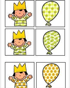 Memorie op een andere manier Zoek dezelfde ballon als het motief op de t-shirt van Anna  Juf Emmy