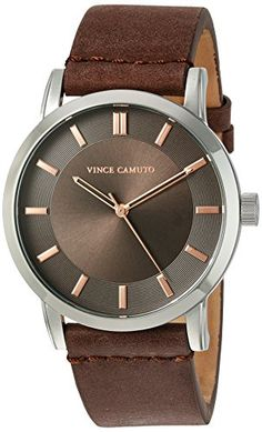 Vince Camuto Men's The Sullivan Silver-Tone and Brown Leather Strap Watch ❤ Vince Camuto Men Accesories, Accessories, Brown Leather Strap Watch, Casual Watches, Festival Fashion, Vince Camuto, Michael Kors Watch, Cool Things To Buy, Silver