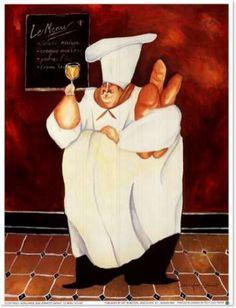 Chubby chef and wine art