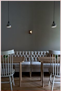 Love this soft grey fabric.  Pretty banquette....in different material