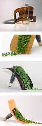Vert: A tabletop planter made from a recycled bottle and bent laminated wood