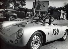 """James Dean's Little Bastard In James Dean would own a Porsche Spyder, one of only 90 in the world. The vehicle would kill him in a fiery crash, but the """"Little Bastard,"""" as he dubbed it, would live out its Name in Infamy. Porsche 550 Spyder, Porsche Panamera, Porsche Roadster, James Dean Car, James Dean Death, James Dean Photos, Aston Martin, Rolls Royce, Porsche Cayenne"""