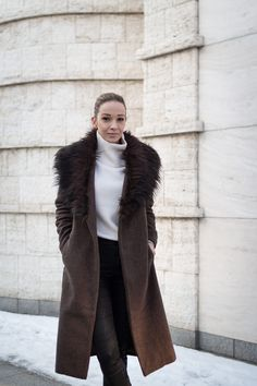 #coat #winter #outfit #asos Fur Coat, Asos, Diamonds, Winter, Jackets, Outfits, Fashion, Winter Time, Down Jackets