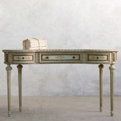 Vintage French Style Vanity Table in Sage $1,205.00 #thebellacottage #shabbychic #eloquence