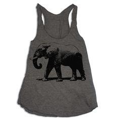 Womens ELEPHANT american apparel Tri-Blend Racerback Tank Top S M L (coffee brown). $21.00, via Etsy.