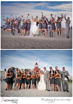 Pretty orange, gray and red wedding at Admiral Kidd Club Fun bridal party photos at Hotel Del Planner: Monarch Weddings  www.monarchweddings.com  #Orangeandgraywedding #Admiralkiddclub