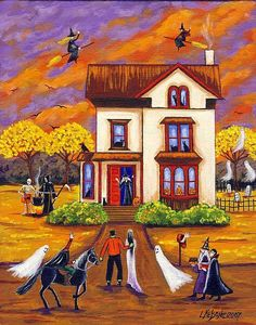 Halloween Party at the Crone's House by Artist Lisa M. Nelson