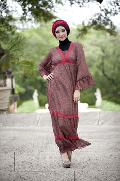 "aljalabiya.com: ""Grettle II"" Chiffon patterned kaftan dress (NC-1014-5)  $73.50"