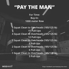 For Time: Buy-In: meter Row; 5 Squat Clean to Overheads lb); 15 Pull-Ups; 4 Squat Clean to Overheads lb); 12 Pull-Ups; 3 Squat Clean to Overheads lb); 9 Pull-Ups; 2 Squat Clean to Overheads lb); 6 Pull-Ups; 1 Squat Clean to Overhead lb); 3 Pull-Ups Crossfit Workouts At Home, Crossfit Open Workouts, Amrap Workout, Insanity Workout, Workout Plans, Workout Fitness, Workout Challenge, 30 Minute Workout