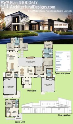 Architectural Designs Modern House Plan 430006LY has an upper level in-law or guest suite complete with a bedroom, living room and kitchen and stairs that go directly to it from the outside. Over 4,400 square feet of heated living space. Ready when you are. Where do YOU want to build?