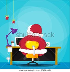 Santa claus cartoon working with laptop on wood desk vector illustration