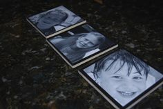cool photo coasters-   (black tiles from Home Depot, then mod podge b/w pictures.) - Did this with white tiles and colored pictures, but this would be awesome!