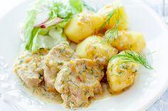 Polędwiczki wieprzowe w sosie koperkowym Pork Tenderloin Recipes, Polish Recipes, Potato Salad, Shrimp, Paleo, Food And Drink, Menu, Dishes, Cooking