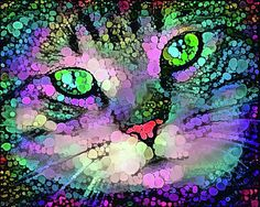 Trippy cat, digital painting with purple, blue and green dots. Available as poster, greeting card, framed fine art print, metal, acrylic or canvas print. (c) Matthias Hauser hauserfoto.com - Art for your Home Decor and Interior Design needs.