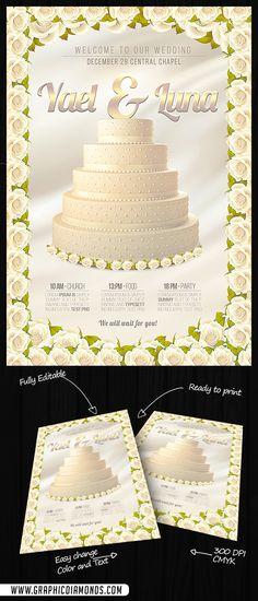 Wedding Flyer PSD Template by GraphicDiamonds on Creative Market - wedding flyer
