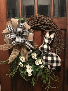 black and white plaid bow & bunny Flower Accents Elegant All Season Grapevine Wreath for Door. Wreaths, wreaths for front door, farmhouse, by DesignsbyDebbyOhio on Etsy
