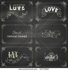 Vector set of chalk vintage frames on blackboard background. Handwritten lettering and ribbons. There is place for your text.