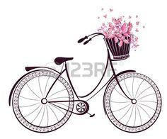 Bicicleta con una cesta llena de flores y mariposas Foto de archivo