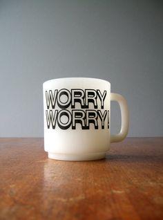 Retro Milk Glass Worry Worry Mug by luola on Etsy