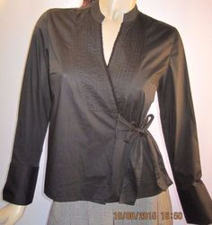 Garnet-Hill-NWT-Size-10P-Black-Beaded-Front-Wrap-and-Tie-Blouse-Long-Sleeve