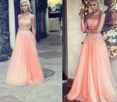 Sweetheart Neck Long Tulle Prom Dresses with Crystals