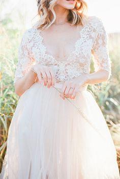 Romantic lace + chiffon Emily Riggs wedding dress: http://www.stylemepretty.com/2016/02/17/romantic-wedding-dresses/