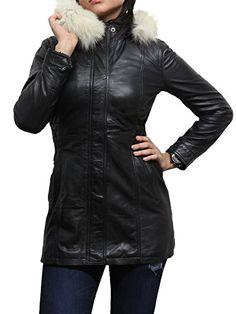 Branddslock Womens Ladies Black Real Sheepskin Leather Long Jacket Coat With Detachable Fur Hood (L, Black)