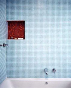 accent color in shower nook/s? dont like the blue wall tiles, but love the idea of the different tiles