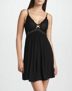 Here is the Colette Chemise in Black by Eberjey that I purchased today.  The M can handle my DD+ cup size with medium support in the underbust.  Exactly what I wanted, although I was looking for colour...  It also has a beautiful lacy back.