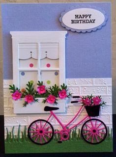 Memory Box, window, grass, bike, pink card