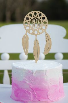 Personalized Cake Topper - Monogram Dream Catcher Cake Topper - Birthday - Wedding - Wooden
