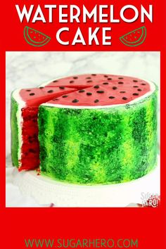 Watermelon Layer Cake - a fun cake that looks AND tastes like a real watermelon!   From SugarHero.com #sugarhero #watermelon #watermeloncake #layercake Crazy Cakes, Gorgeous Cakes, Amazing Cakes, Cakes That Look Like Food, Baby Food Recipes, Sweet Recipes, Cake Batter Cookies, Moist Vanilla Cake, Lemon Layer Cakes