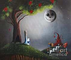 Moon Art - Alice In Wonderland Artwork - Return To Wonderland Original by Shawna Erback