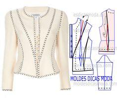 MOLDE DE CASACO CHANEL -33 - Moldes Moda por Medida