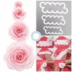 kit cortador de rosas de pasta americana fácil - 3 unidades