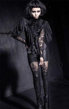 Punk-Rave-Bluse-Gothic-Lolita-Jabot-Shirt-Steampunk-Spitze-Victorian-Cosplay-411