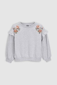 Sweater in soft fine-knit cotton fabric with dropped shoulders long sleeves and ribbing at neckline cuffs and hem. Girl Sweat, Girl Fashion, Fashion Outfits, Fashion Ideas, Dress Up Outfits, Lady Grey, Embroidery Dress, Embroidery Stitches, Embroidery Patterns