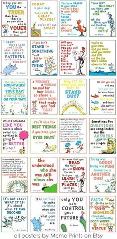 Fun collection of Dr. Seuss quotes! The link doesn't work, but it would be fun to recreate these. by millie