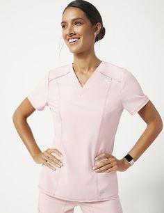bf0988a040e Shift V-Neck Top in Blushing Pink - Medical Scrubs