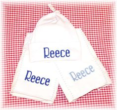 Personalized Baby Hat and Burp Cloths by babyobaby.com. Perfect gift for the Nursery!