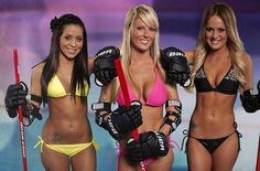 Bikini Hockey League: The first sign that the Bikini Hockey League is going to offer excellent competition and players with extraordinary skill is that it's being created for a reality television program in which all the girls live in a mansion. Hopefully in lieu of roses, they do a stick ceremony.