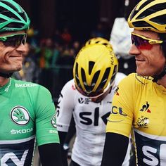 The happy couple at the start. Kiry and Geraint looking great in green and yellow TDF2017 @cyclingimages